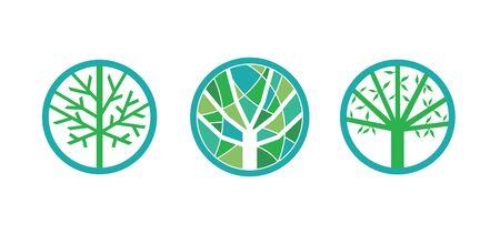 Green tree environment set Illustration