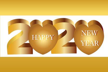 2020 Happy New Year Banner, Heart Vector