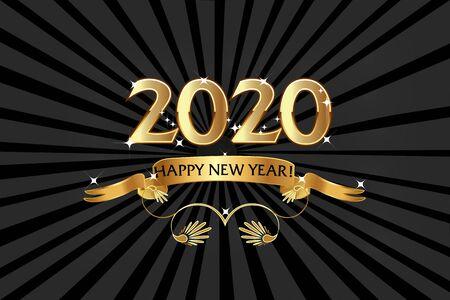 2020 Happy New Year, Golden Emblem Background