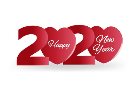 2020 Happy New Year Banner, Heart Vector
