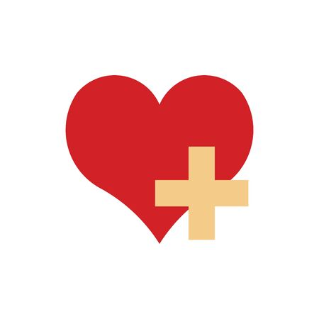 Heart and plus sign icon vector