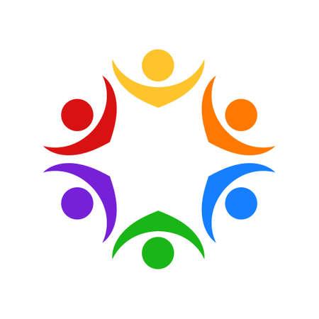 Teamwork people unity group, icon vector Illustration