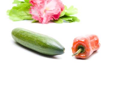 Fresh Red  Capsicum and Cucumber