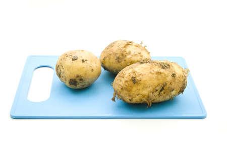 potatos: Potatos on Blue plate