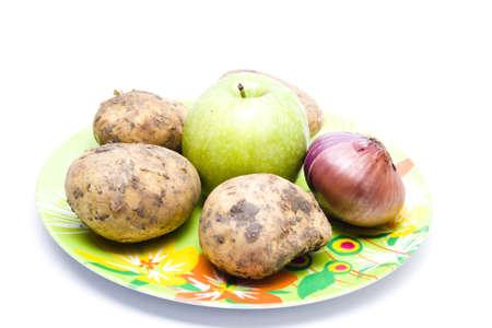 potatos: Apple with Potatos and Onion Stock Photo
