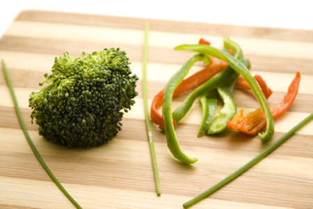 Broccoli with Capsicum  on Wooden Plate