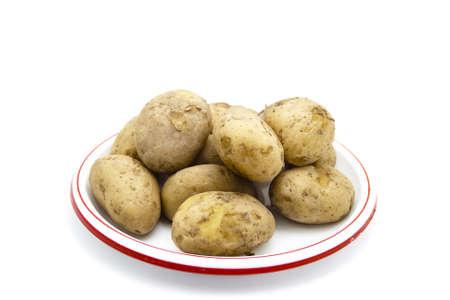potatos: Cooked Potatos on Plastic Plate