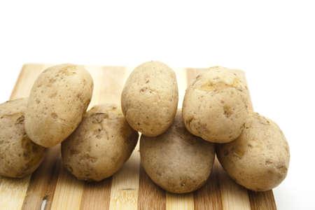 potatos: Cooked Potatos on wooden Plate
