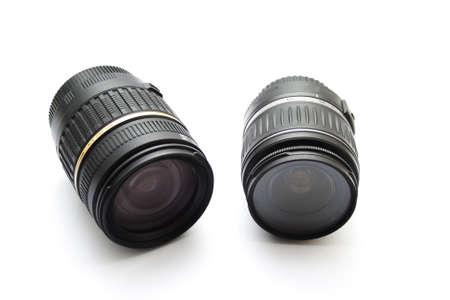 Camera Lenses on white background  Stock Photo