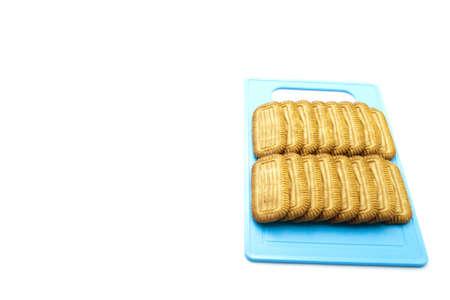 underlay: Galletas cocidas al horno en la placa azul