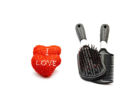 hairbrush: Hairbrush with Red Hearts Stock Photo