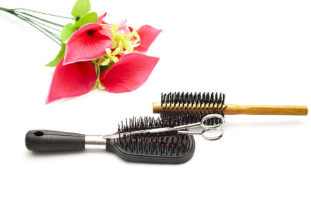 hairbrush: Different Hairbrush with Scissors  Stock Photo