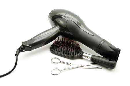 Hairdryer with Plastic Hairbrush and Scissors Stock Photo - 19806970