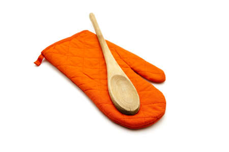 Red Potholder with  Wooden Cooking Spoon Stock Photo
