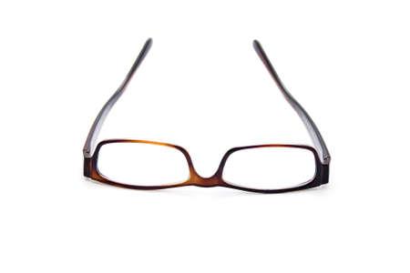 gafas de lectura: Vidrios de lectura en el fondo blanco Foto de archivo