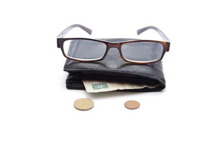 Black Money Purse with Money  Stock Photo - 21292611