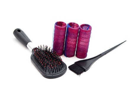 hair curler: Hair Curler with Coloring Brush Stock Photo