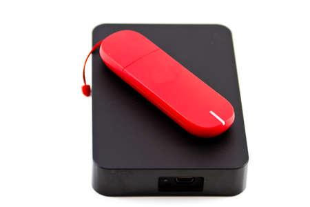 external hard disk drive: Red Internet Stick with External Hard Drive Disk