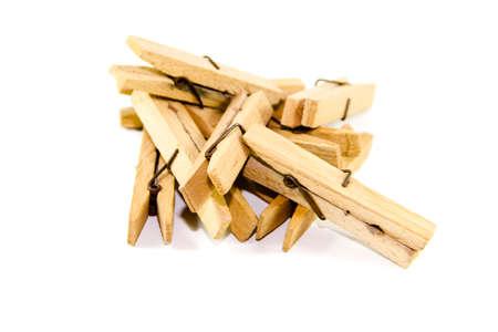 Wooden Clothespins on white background  Zdjęcie Seryjne