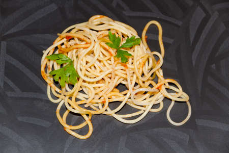 Fresh Cooked Spaghetti with Parsley Stock Photo