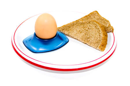 Fresh Brown Egg in Egg Cup with Toast Bread