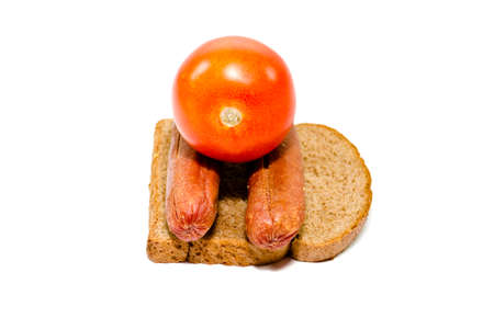 Fresh Rosted Sausages with Toast Bread and Tomato Stock Photo
