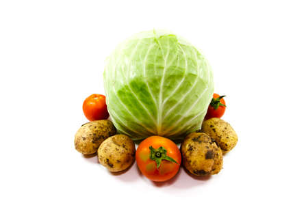 Fresh Cabbage with Potatoes and Tomatoes Stock Photo