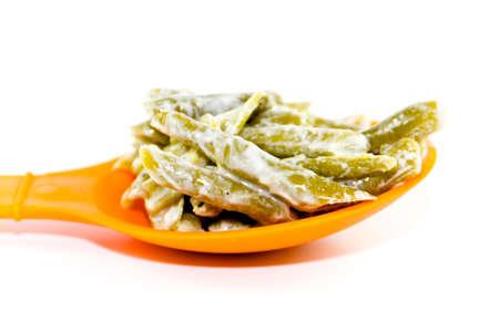 Fresh Green Beans Salad on Spoon Stock Photo
