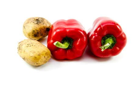 Fresh Red Capsicum and Brown  Potatoes  Stock Photo