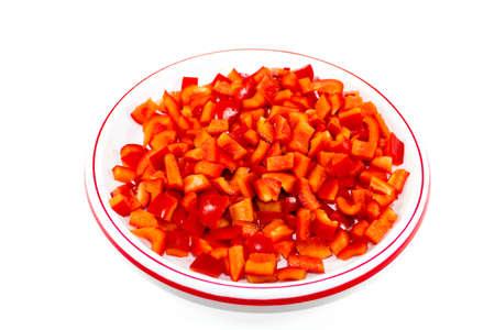 Fresh Sliced Red Capsicum Cubes