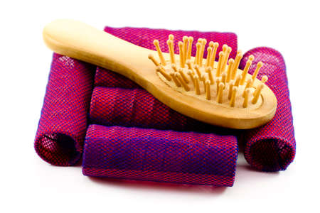 Red Hair Curler with Hairbrush