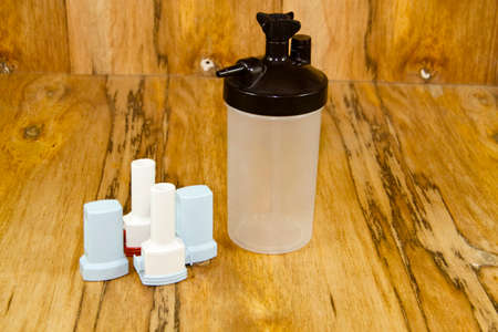 Humidifier bottle with Asthma Inhaler  Stock Photo