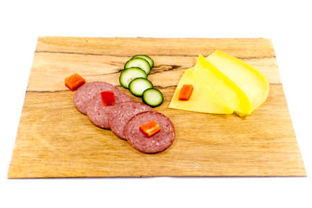 Fresh Salami with Cheese decorated with Vegetables