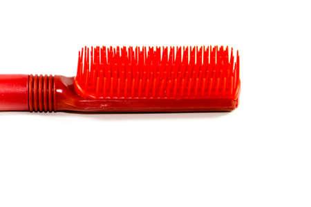 Red Plastic Hairbrush