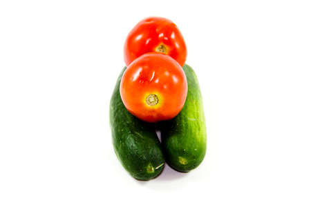 Fresh Green Cucumber with Red Tomatoes