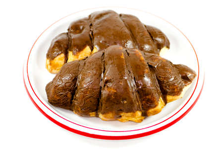 Fresh Baked Chocolate Croissant Stock Photo