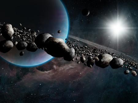 Ringed Planet around the Sun Stock Photo