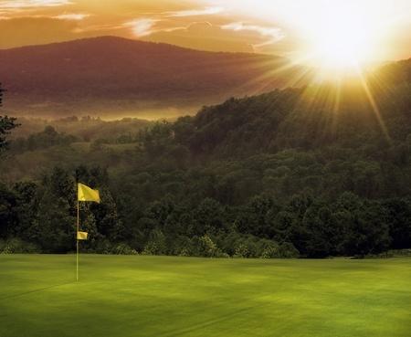 ゴルフコースの日没