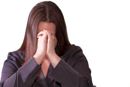 슬프고 우울 갈색 머리 비즈니스 여자