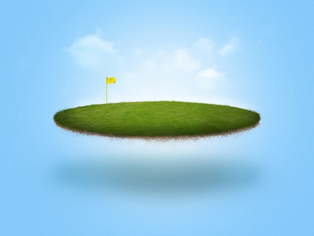 A golf green floating in the air on blue background Stock Photo