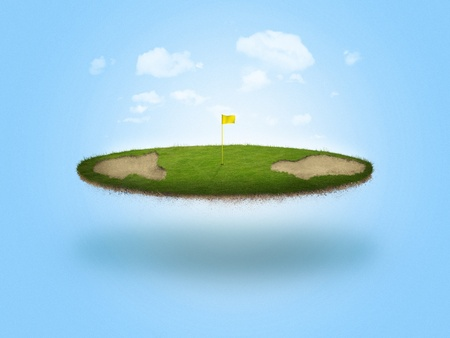 floating: A golf green floating in the air on blue background Stock Photo