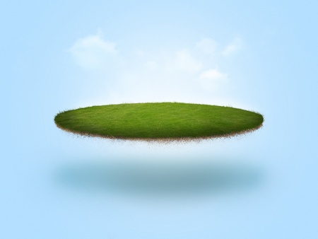 A golf green floating in the air on blue background Reklamní fotografie