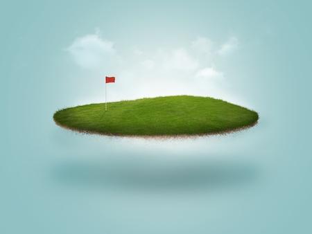 フローティング ゴルフ緑 写真素材