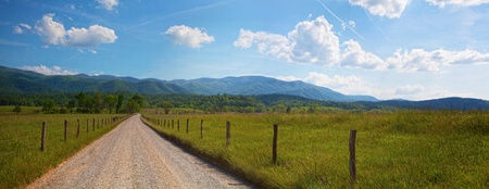Panorama of country road in the mountains of Tennessee photo