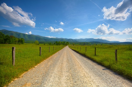 Old dirt road at Cades Cove in the smoky mountains photo