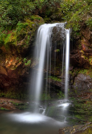 Grotto falls in the smoky mountains in Tennessee photo
