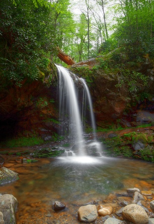 backwoods: Grotto falls in the smoky mountains in Tennessee Stock Photo