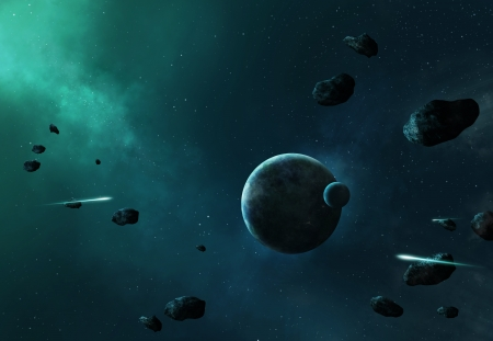 Asteroids in space heading towards planet and moon photo