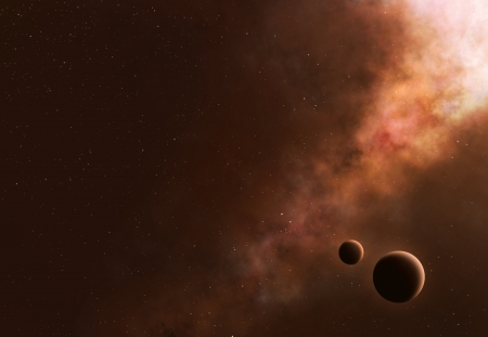 Asteroids in space heading towards planet and moon