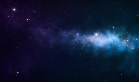 blue and purple nebula on black space background photo